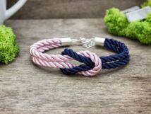 Vitorlát feszíts kék és rózsaszín színű paracord karkötő