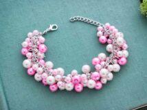 Bubble tekla gyöngyös rózsaszín színű karkötő