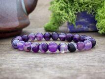 Misztikus lila achát ásvány karkötő