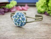 Kék kertem textil gombos karperec