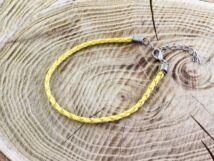 Sárga műbőr fonott karkötő