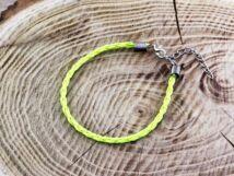 Neon sárga műbőr fonott karkötő