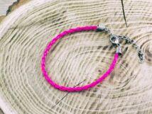 Pink műbőr fonott karkötő