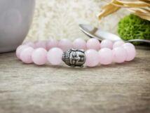 Szerelem acél Buddha rózsakvarc ásvány karkötő