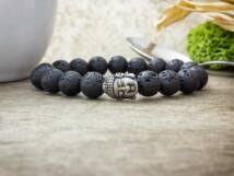Egyensúly acél Buddha lávakő ásvány karkötő