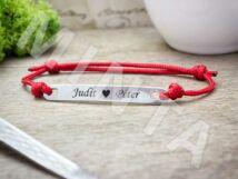 Gravírozható lapbetétes vörös microcord karkötő