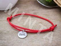 Gravírozható kerek medálos vörös paracord karkötő