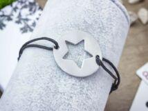 Gravírozható acél csillag medálos MiniM nanocord karkötő