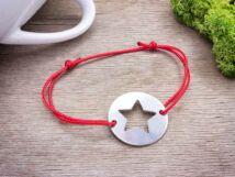 Gravírozható acél csillag medálos vörös MiniM nanocord karkötő