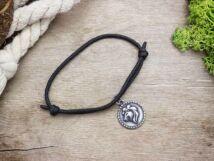Antikolt oroszlán horoszkóp medálos fekete paracord karkötő