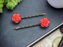Piros rózsás hajcsat
