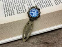 Kék virágos üveglencsés könyvjelző