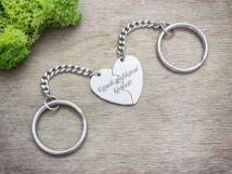Személyre szabott feliratos törhető szív medálos kulcstartó szett