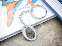 Ujjlenyomatos acél ovális medálos kulcstartó