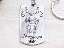 Legjobb Nagypapa acél szögletes medálos kulcstartó