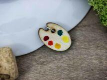 Festőpaletta lézervágott nyírfa medál
