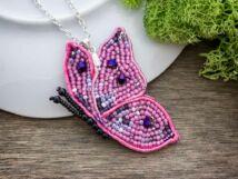 Rózsaszín kecses pillangó sujtás nyaklánc