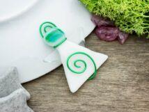 Zöld és fehér angyal üveg medál