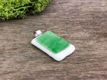 Zöld fehér mámor üveg medál
