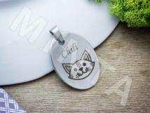 Macska acél ovális biléta