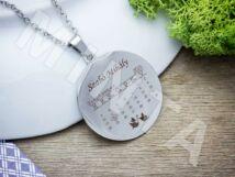 Baba emlékőrző naptáras acél kerek medál nyaklánccal