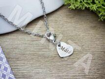 Gravírozható szív charm medál nyakláncon