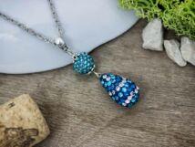 Bogyós gyöngyös és kristályos kék színű nyaklánc