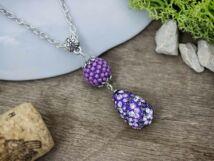 Bogyós gyöngyös és kristályos lila színű nyaklánc