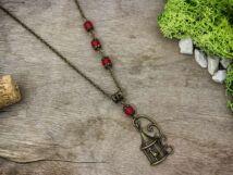 Kalitka medálos piros gyöngy nyaklánc