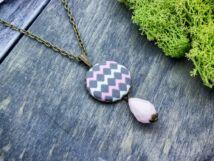 CikkCakk fehér és rózsaszín textil gombos nyaklánc