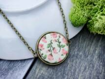 Romantikus vintage virágok textil gombos nyaklánc