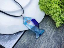 Mélytengeri halacska üveg medál nyakláncon