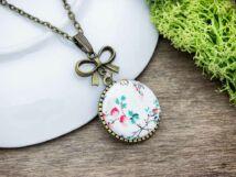 Pöttyös virágos  textil gombos nyaklánc