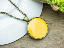 Sárga tűzzománc nyaklánc bronz színű alappal