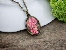 Rózsaszín orchidea  üveglencsés nyaklánc