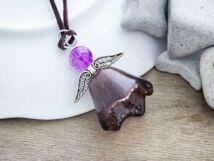 Lila angyal üveg medál nyakláncon