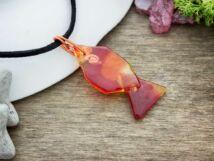 Arany halacska üveg medál nyakláncon