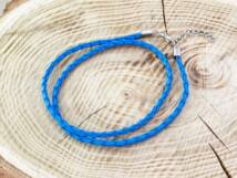 Fonott műbőr kék nyaklánc 45-50 cm