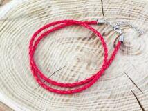 Fonott műbőr piros nyaklánc 45-50 cm
