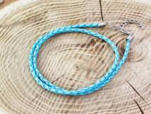 Fonott műbőr világos kék nyaklánc 46-51 cm