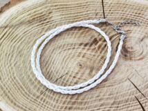 Fonott műbőr tört fehér nyaklánc 45-50 cm