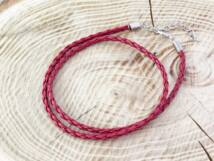 Fonott műbőr bordó nyaklánc 45-50 cm