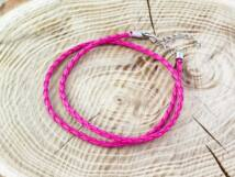 Fonott műbőr rózsaszín nyaklánc 45-50 cm