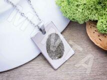 Ujjlenyomatos acél téglalap medál nyaklánccal