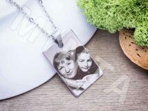 Fotógravírozás acél téglalap medál nyaklánccal