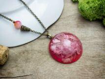 Műgyanta préselt cseresznye virágos nyaklánc
