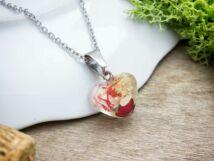 Műgyanta préselt virágos acél nyaklánc