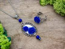 Kék színű rózsás gyűrű és nyaklánc szett