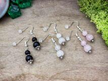 Csodás rózsa- hókvarc és obszidián ásvány fülbevaló csomag
