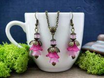 Magenta és rózsaszín harangvirágos szett